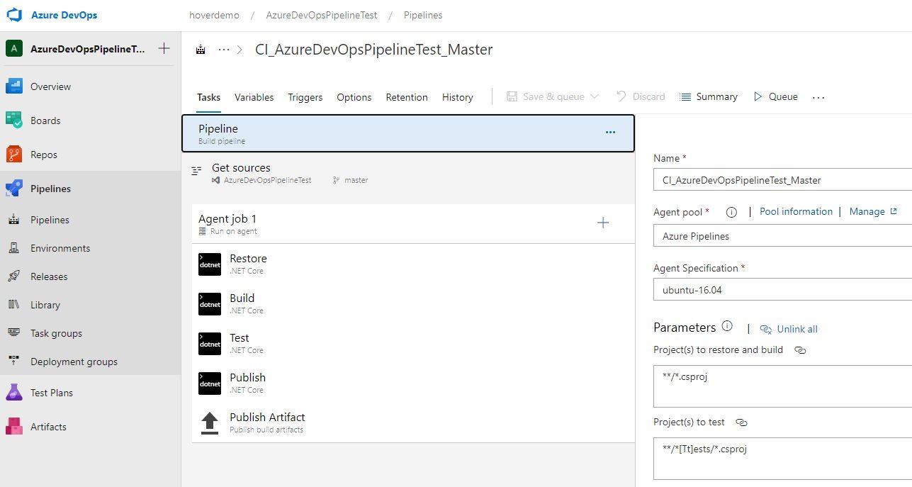 Azure DevOps settings - ASP.NET Core web application.